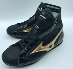 Mizuno Boxing Shoes Short Black × Gold Made in JAPAN BTO bordering red authentic