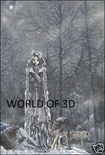 VICTORIA FRANCES ICE PRINCESS WITH WOLVES - 3D FANTASY PICTURE 300mm x 400mm