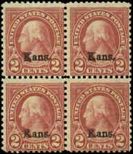 US Scott #660 Block of 4 Mint No Gum  Kansas Overprint