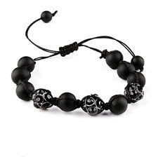 Bracelet  SHAMBALLA ultra tendance - MARQUE IKITA - NOIR et CRISTAL NOIR