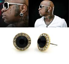 Mens Hip Hop Gold Black Onyx Cubic Zirconia Round Stud Earrings 6mm 8mm