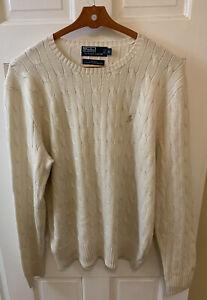 Polo Ralph Lauren Men XL 100% Silk Cableknit Sweater Crewneck Ivory Beige PRL RL