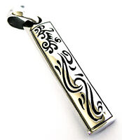 CARVED DRAGON & PHOENIX BAR TRIBAL TATTOO SOLID STERLING 925 SILVER MENS PENDANT