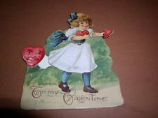 Vintage Valentine Card, Mechanical, Girl with Valentine, Moveble Heart, Germany!
