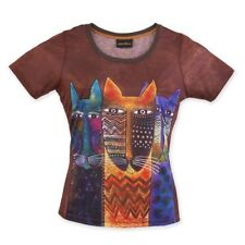 New Laurel Burch T-Shirt Tee Top Brown Three Cats Kitten Blue Size L Clothes