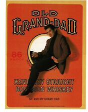 1988 OLD GRAND-DAD Bourbon Whiskey man sitting in label VTG PRINT AD