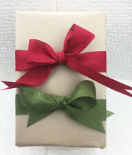 20m Roll Christmas Linen Look Ribbon 38mm Great for Wrapping & Bows RED OR OLIVE