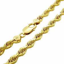 """18K Yellow Gold Solid Womens 7mm Diamond Cut Rope Chain Pendant Necklace 16"""""""