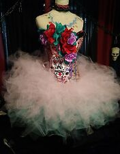 DIA DE LOS MUERTOS, Women, costume, Day of the dead Burlesque fluffy tutu M