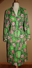 VTG Lilly Pulitzer The Lilly Shirt Dress Sz 8 Green Pink Long Sleeve 1970's