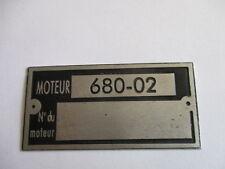 Typenschild Renault R 4 Motor-Schild ID-plate moteur 680-02 tag plaque targa s28