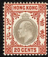 Hong Kong 1903 slate/chestnut 20c crown CA mint SG69