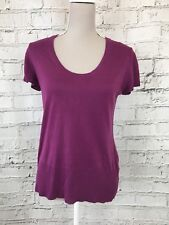 Episode Womens Top Short Sleeve Thin Knit Purple Slightly Sheer Silk Wool Size M