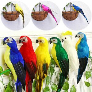 Artificial Feather Parrot Simulation Fake Bird Model Home Garden Lawn Tree Decor