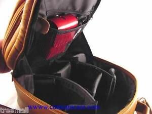Top Grain Primary Genuine Cowhide Leather SLR Camera BackPack Brown Color