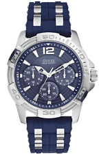 W0366G2 NEW GUESS MEN ROUND DIAL SILICONE SILVER-BLUE BAND WATCH
