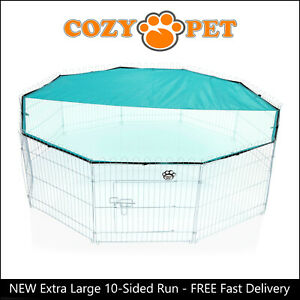 Cozy Pet Rabbit Run 10 Sided Play Pen Guinea Pig Playpen Puppy Cage Hutch RR12