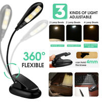 Flexible Rechargeable Stand LED Light Clip-on Dimmable Bed Book Reading Lamp