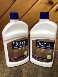 Lot Of 2 Bona Hardwood Floor Polish - High Gloss 32oz Brand New