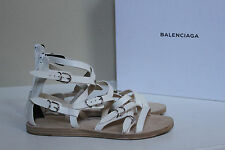 New Balenciaga Bickle White Leather Gladiator Ankle Sandals Shoes sz 9.5 / 39.5