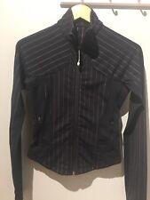Lululemon Define Micro Stripe Black Full Zip Jacket Run Athletic Scuba Sz 2 Or 4