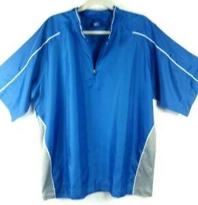 Mizuno Sports Windbreaker Shirt Golf Baseball Hitting Warmup Blue Gray Large