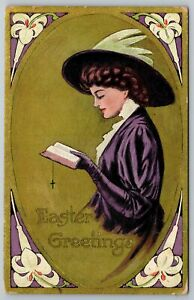 Easter Holiday~Lady Holds Bible~Purple Dress~Lace~Hat~Lilies~Gold~Vintage PC