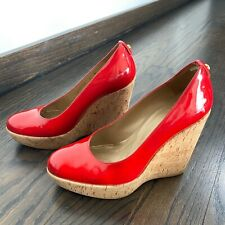 Womens Stuart Weitzman Corkswoon Red Patent Leather Wedges Size 6M