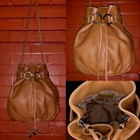 $198 Fossil Brown Pebble Leather Bucket Cinch Drawstring Tote Shoulder Bag Purse