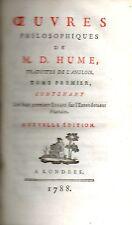 Oeuvres Philosophiques de David Hume.1788.7 tomes en 6 volumes.Ex.Complet