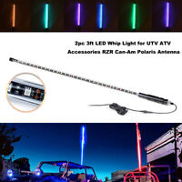 2PACK 3ft LED Whip Light For ATV Accessories RZR Can-Am Polaris Antenna 20 Color