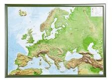Vrai 3D Carte Du Relief Europe avec Cadre en Bois Format Paysage 77x57cm