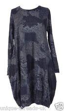 "New ITALIAN Quirky LAGENLOOK Cotton BALLOON Panel PAISLEY Pocket Dress 46"" NAVY"