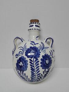 Botijo cantimplora para colgar, ceramica vidriada y pintada a mano.  TALAVERA