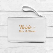 Personalised Bride Clutch Bag Pouch Faux Leather, White/Pink/Black, Any Name