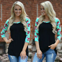 Womens Crew Neck Loose Tee Tops Splicing Floral 3/4 Sleeve Blouse Casual T-Shirt
