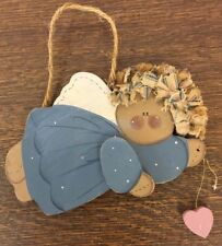 70's Blue Country Flying Christmas Angel Ornament-Painted Wood Jigsaw Cut