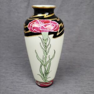 "Jaeger Porcelain JC & Co Antique Art Nouveau Ceramic Rose 8"" Vase Black Gold"