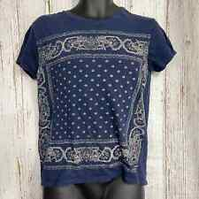 Lucky Brand Women M Floral Graphic Print Cotton Crew Neck Short Sleeve Blue