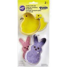 WILTON 2pc EASTER PEEPS BUNNY & BABY CHICK METAL COOKIE CUTTERS NEW MOLDS BASKET