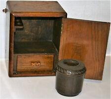 Antique Edwardian Oak Smokers Cabinet with Bakelite Tobacco Jar Inside