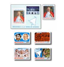 NIC83002 Visit of Pope John Paul II to Nicaragua 5 stamps and block
