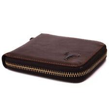 Mens Handmade genuine Leather Zip Around Wallet Purse Coin Pocket  card slots