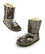 UGG Australian CLASSIC SHORT CHAMPAGNE SEQUIN BOOTS WOMENS SIZE 6 3353