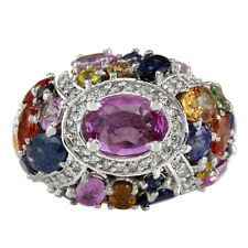 6.83 Carat Natural Multicolor Sapphire and Diamond 14K White Gold Cocktail Ring