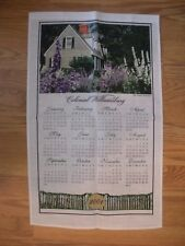 Mint 2001 COLONIAL WILLIAMSBURG CALENDAR TOWEL - CUSTIS TENEMENT w/ DOWEL