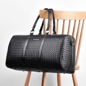 Large Fashion Mens Black Leather New Travel Bag Overnight Duffle Handbag BL