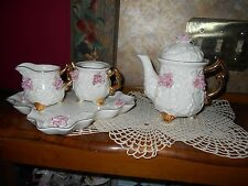 Ivory Porcelain Tea Set Tea Pot Creamer Sugar Applied Pink Roses Gold Trim