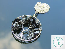 Handmade Snowflake Obsidian Tree of Life Natural Gemstone Pendant Necklace 50cm