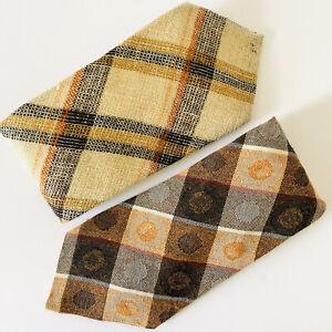 Two Men's Vintage Ties Autumnal Colours Orange Brown 60s 70s Hardys Of England